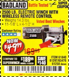 Harbor Freight Coupon 2500 LB ELECTRIC WINCH WITH WIRELESS REMOTE CONTROL Lot No. 68146/61258/61297/61840 Expired: 12/20/18 - $49.99