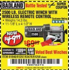 Harbor Freight Coupon 2500 LB ELECTRIC WINCH WITH WIRELESS REMOTE CONTROL Lot No. 68146/61258/61297/61840 Expired: 11/3/18 - $49.99