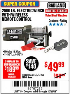 Harbor Freight Coupon 2500 LB ELECTRIC WINCH WITH WIRELESS REMOTE CONTROL Lot No. 68146/61258/61297/61840 Expired: 10/29/18 - $49.99
