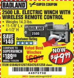 Harbor Freight Coupon 2500 LB ELECTRIC WINCH WITH WIRELESS REMOTE CONTROL Lot No. 68146/61258/61297/61840 Expired: 6/15/19 - $49.99