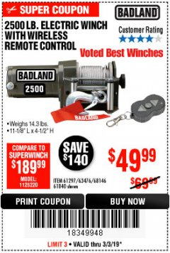 Harbor Freight Coupon 2500 LB ELECTRIC WINCH WITH WIRELESS REMOTE CONTROL Lot No. 68146/61258/61297/61840 Expired: 3/3/19 - $49.99