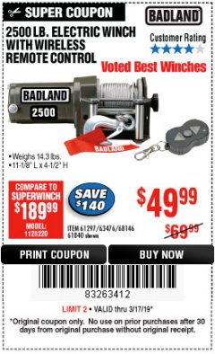 Harbor Freight Coupon 2500 LB ELECTRIC WINCH WITH WIRELESS REMOTE CONTROL Lot No. 68146/61258/61297/61840 Expired: 3/17/19 - $49.99