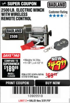 Harbor Freight Coupon 2500 LB ELECTRIC WINCH WITH WIRELESS REMOTE CONTROL Lot No. 68146/61258/61297/61840 Expired: 5/31/19 - $49.99