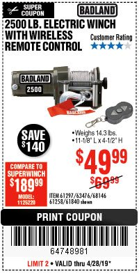 Harbor Freight Coupon 2500 LB ELECTRIC WINCH WITH WIRELESS REMOTE CONTROL Lot No. 68146/61258/61297/61840 Expired: 4/28/19 - $49.99