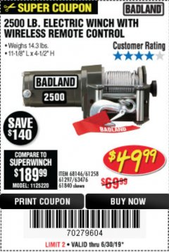 Harbor Freight Coupon 2500 LB ELECTRIC WINCH WITH WIRELESS REMOTE CONTROL Lot No. 68146/61258/61297/61840 Expired: 6/30/19 - $49.77
