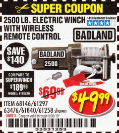 Harbor Freight Coupon 2500 LB ELECTRIC WINCH WITH WIRELESS REMOTE CONTROL Lot No. 68146/61258/61297/61840 Expired: 6/30/19 - $49.99