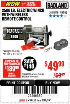 Harbor Freight Coupon 2500 LB ELECTRIC WINCH WITH WIRELESS REMOTE CONTROL Lot No. 68146/61258/61297/61840 Expired: 6/16/19 - $49.99