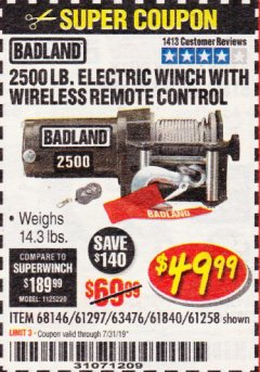 Harbor Freight Coupon 2500 LB ELECTRIC WINCH WITH WIRELESS REMOTE CONTROL Lot No. 68146/61258/61297/61840 Expired: 7/31/19 - $49.99