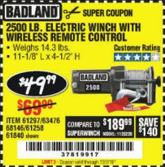 Harbor Freight Coupon 2500 LB ELECTRIC WINCH WITH WIRELESS REMOTE CONTROL Lot No. 68146/61258/61297/61840 Expired: 12/2/19 - $49.99