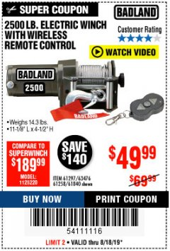 Harbor Freight Coupon 2500 LB ELECTRIC WINCH WITH WIRELESS REMOTE CONTROL Lot No. 68146/61258/61297/61840 Expired: 8/18/19 - $49.99