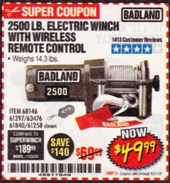 Harbor Freight Coupon 2500 LB ELECTRIC WINCH WITH WIRELESS REMOTE CONTROL Lot No. 68146/61258/61297/61840 Expired: 8/31/19 - $49.99