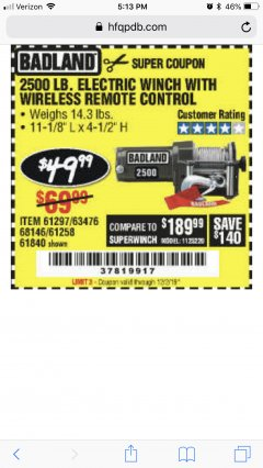 Harbor Freight Coupon 2500 LB ELECTRIC WINCH WITH WIRELESS REMOTE CONTROL Lot No. 68146/61258/61297/61840 Valid Thru: 12/20/19 - $49.99