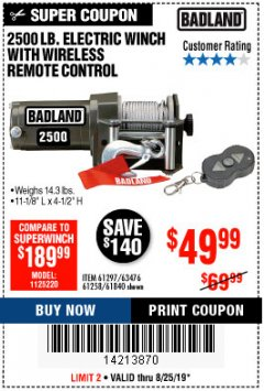 Harbor Freight Coupon 2500 LB ELECTRIC WINCH WITH WIRELESS REMOTE CONTROL Lot No. 68146/61258/61297/61840 Expired: 8/25/19 - $49.99