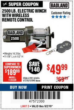 Harbor Freight Coupon 2500 LB ELECTRIC WINCH WITH WIRELESS REMOTE CONTROL Lot No. 68146/61258/61297/61840 Expired: 9/2/19 - $49.99