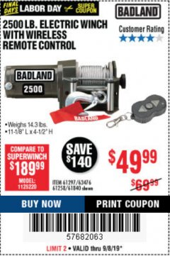 Harbor Freight Coupon 2500 LB ELECTRIC WINCH WITH WIRELESS REMOTE CONTROL Lot No. 68146/61258/61297/61840 Expired: 9/8/19 - $49.99
