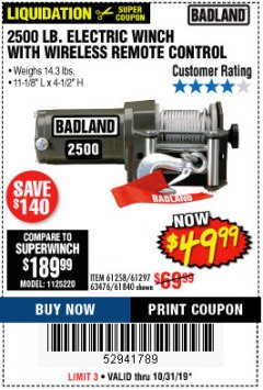Harbor Freight Coupon 2500 LB ELECTRIC WINCH WITH WIRELESS REMOTE CONTROL Lot No. 68146/61258/61297/61840 Expired: 10/31/19 - $49.99