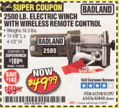 Harbor Freight Coupon 2500 LB ELECTRIC WINCH WITH WIRELESS REMOTE CONTROL Lot No. 68146/61258/61297/61840 Expired: 11/30/19 - $49.99