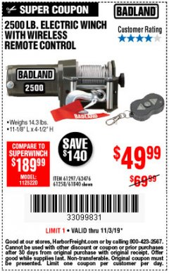 Harbor Freight Coupon 2500 LB ELECTRIC WINCH WITH WIRELESS REMOTE CONTROL Lot No. 68146/61258/61297/61840 Expired: 11/3/19 - $49.99