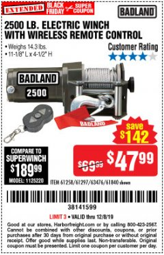 Harbor Freight Coupon 2500 LB ELECTRIC WINCH WITH WIRELESS REMOTE CONTROL Lot No. 68146/61258/61297/61840 Valid Thru: 12/8/19 - $47.99