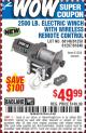 Harbor Freight Coupon 2500 LB ELECTRIC WINCH WITH WIRELESS REMOTE CONTROL Lot No. 68146/61258/61297/61840 Expired: 8/7/15 - $49.99
