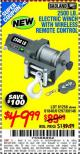 Harbor Freight Coupon 2500 LB ELECTRIC WINCH WITH WIRELESS REMOTE CONTROL Lot No. 68146/61258/61297/61840 Expired: 10/14/15 - $49.99
