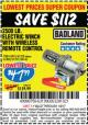 Harbor Freight Coupon 2500 LB ELECTRIC WINCH WITH WIRELESS REMOTE CONTROL Lot No. 68146/61258/61297/61840 Expired: 1/2/17 - $47.99