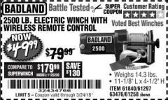 Harbor Freight Coupon 2500 LB ELECTRIC WINCH WITH WIRELESS REMOTE CONTROL Lot No. 68146/61258/61297/61840 Expired: 3/24/18 - $49.99