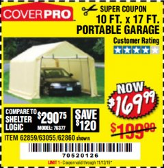 Harbor Freight Coupon COVERPRO 10 FT. X 17 FT. PORTABLE GARAGE Lot No. 69039/60727/62286/62860/63055/62864/62859 Expired: 11/12/19 - $169.99