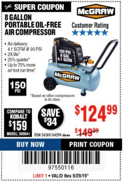 Harbor Freight Coupon 8 GALLON OIL-FREE AIR COMPRESSOR Lot No. 56269/64294 Valid Thru: 9/29/19 - $124.99