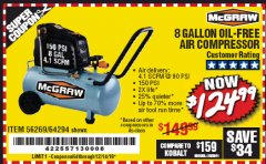 Harbor Freight Coupon MCGRAW 8 GALLON OIL-FREE AIR COMPRESSOR Lot No. 56269/64294 Expired: 12/14/19 - $125