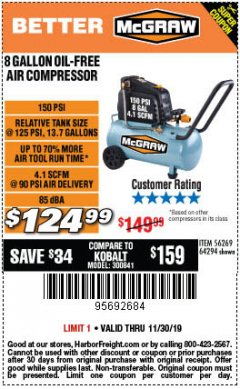 Harbor Freight Coupon MCGRAW 8 GALLON OIL-FREE AIR COMPRESSOR Lot No. 56269/64294 Expired: 11/30/19 - $124.99