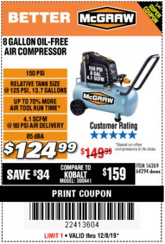 Harbor Freight Coupon MCGRAW 8 GALLON OIL-FREE AIR COMPRESSOR Lot No. 56269/64294 Expired: 12/8/19 - $124.99