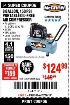 Harbor Freight Coupon MCGRAW 8 GALLON OIL-FREE AIR COMPRESSOR Lot No. 56269/64294 Expired: 12/22/19 - $124.99