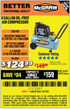 Harbor Freight Coupon MCGRAW 8 GALLON OIL-FREE AIR COMPRESSOR Lot No. 56269/64294 Valid Thru: 1/31/20 - $124.99