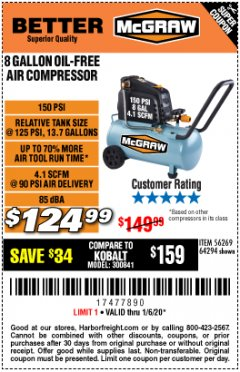 Harbor Freight Coupon MCGRAW 8 GALLON OIL-FREE AIR COMPRESSOR Lot No. 56269/64294 Expired: 1/6/20 - $124.99