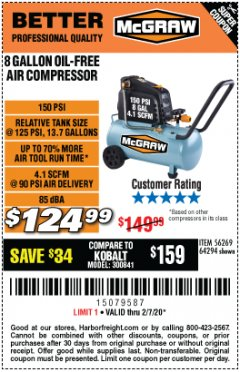Harbor Freight Coupon MCGRAW 8 GALLON OIL-FREE AIR COMPRESSOR Lot No. 56269/64294 Valid Thru: 2/7/20 - $124.99