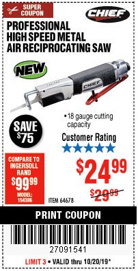 Harbor Freight Coupon PROFESSIONAL HIGH SPEED METAL AIR RECIPROCATING SAW Lot No. 64678 Expired: 10/20/19 - $24.99