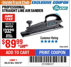 Harbor Freight ITC Coupon PROFESSIONAL STRAIGHT LINE AIR SANDER Lot No. 63994 Expired: 10/8/19 - $89.99