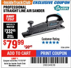 Harbor Freight ITC Coupon PROFESSIONAL STRAIGHT LINE AIR SANDER Lot No. 63994 Expired: 11/12/19 - $79.99