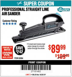 Harbor Freight Coupon PROFESSIONAL STRAIGHT LINE AIR SANDER Lot No. 63994 Expired: 10/20/19 - $89.99