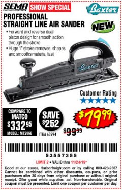 Harbor Freight Coupon PROFESSIONAL STRAIGHT LINE AIR SANDER Lot No. 63994 Expired: 11/24/19 - $79.99