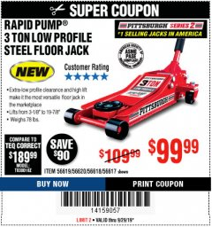 Harbor Freight Coupon RAPID PUMP 3 TON STEEL HEAVY DUTY LOW PROFILE FLOOR JACK  Lot No. 56618/56619/56620/55517 Valid Thru: 9/29/19 - $99.99