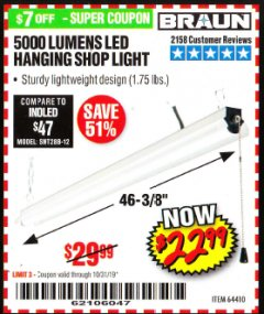 Harbor Freight Coupon 5000 LUMEN LED HANGING SHOP LIGHT Lot No. 64410 Expired: 10/31/19 - $22.99
