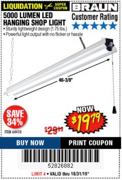 Harbor Freight Coupon 5000 LUMEN LED HANGING SHOP LIGHT Lot No. 64410 Expired: 10/31/19 - $19.79