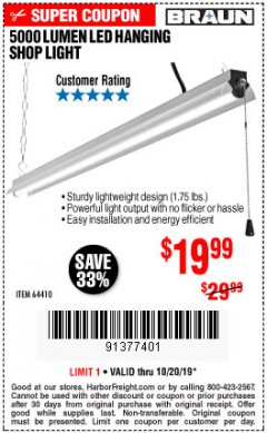 Harbor Freight Coupon 5000 LUMEN LED HANGING SHOP LIGHT Lot No. 64410 Expired: 10/20/19 - $19.99