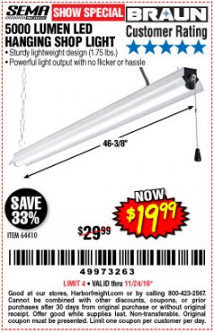 Harbor Freight Coupon 5000 LUMEN LED HANGING SHOP LIGHT Lot No. 64410 Expired: 11/24/19 - $19.99
