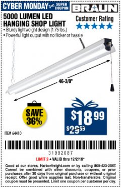 Harbor Freight Coupon 5000 LUMEN LED HANGING SHOP LIGHT Lot No. 64410 Expired: 12/1/19 - $18.99