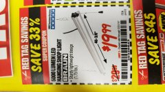Harbor Freight Coupon 5000 LUMEN LED HANGING SHOP LIGHT Lot No. 64410 Valid Thru: 12/31/19 - $19.99