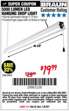 Harbor Freight Coupon 5000 LUMEN LED HANGING SHOP LIGHT Lot No. 64410 Valid Thru: 1/8/20 - $19.99