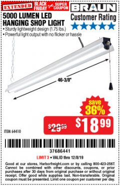 Harbor Freight Coupon 5000 LUMEN LED HANGING SHOP LIGHT Lot No. 64410 Valid Thru: 12/8/19 - $18.99